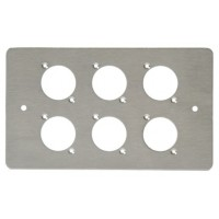 6 WAY XLR DOUBLE GANG FACE PLATE BRUSHED STAINLESS