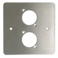 2 XLR HOLE SINGLE GANG FACE PLATE BRUSHED STAINLESS