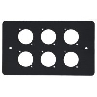 6 WAY XLR BLACK  DOUBLE GANG FACE PLATE STEEL
