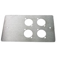 4 WAY XLR DOUBLE GANG FACE PLATE BRUSHED STAINLESS