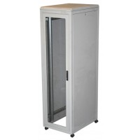 42u 19 inch rack network server cabinet in grey with door and casters