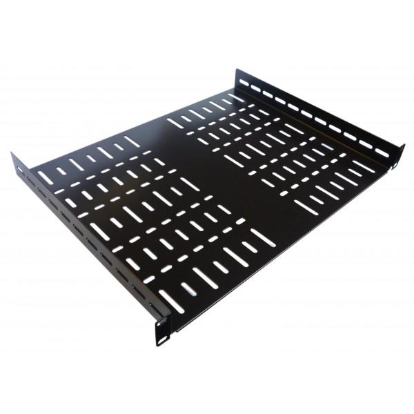 1u 19 inch rack shelf 350mm vented black steel allmetalparts. Black Bedroom Furniture Sets. Home Design Ideas