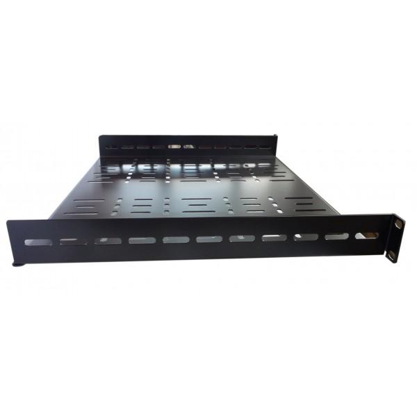1u 19 inch rack shelf 300mm wider vented black steel allmetalparts. Black Bedroom Furniture Sets. Home Design Ideas