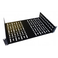 2U 19 inch Rack Shelf 290mm Wider Vented  Black Steel  Flat Pack