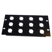3U 9.5 inch Half-Rack 12 XLR Hole Panel