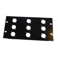 3U 10.5 inch Half-Rack 9 XLR Hole Panel