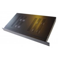 2U 19 inch 250mm deep aluminium black vented enclosure chassis with Aluminium front panel