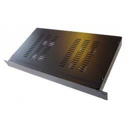 2U 19 inch 300mm deep aluminium black vented enclosure chassis with Aluminium front panel
