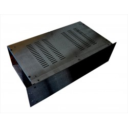 3U 19 inch 300mm deep aluminium black vented enclosure chassis with Aluminium front panel