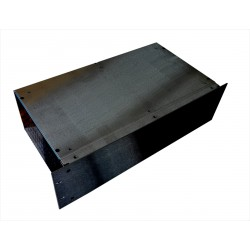 2U 19 inch 300mm deep aluminium black vented sides enclosure chassis with Aluminium front panel