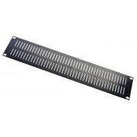 2U Vent Slotted black flat steel 1.6mm blank panel