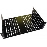 3U 19 inch Rack Shelf 290mm Wider Vented  Black Steel  Flat Pack