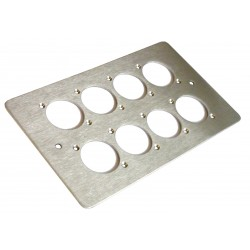 8 WAY XLR DOUBLE GANG FACE PLATE BRUSHED STAINLESS